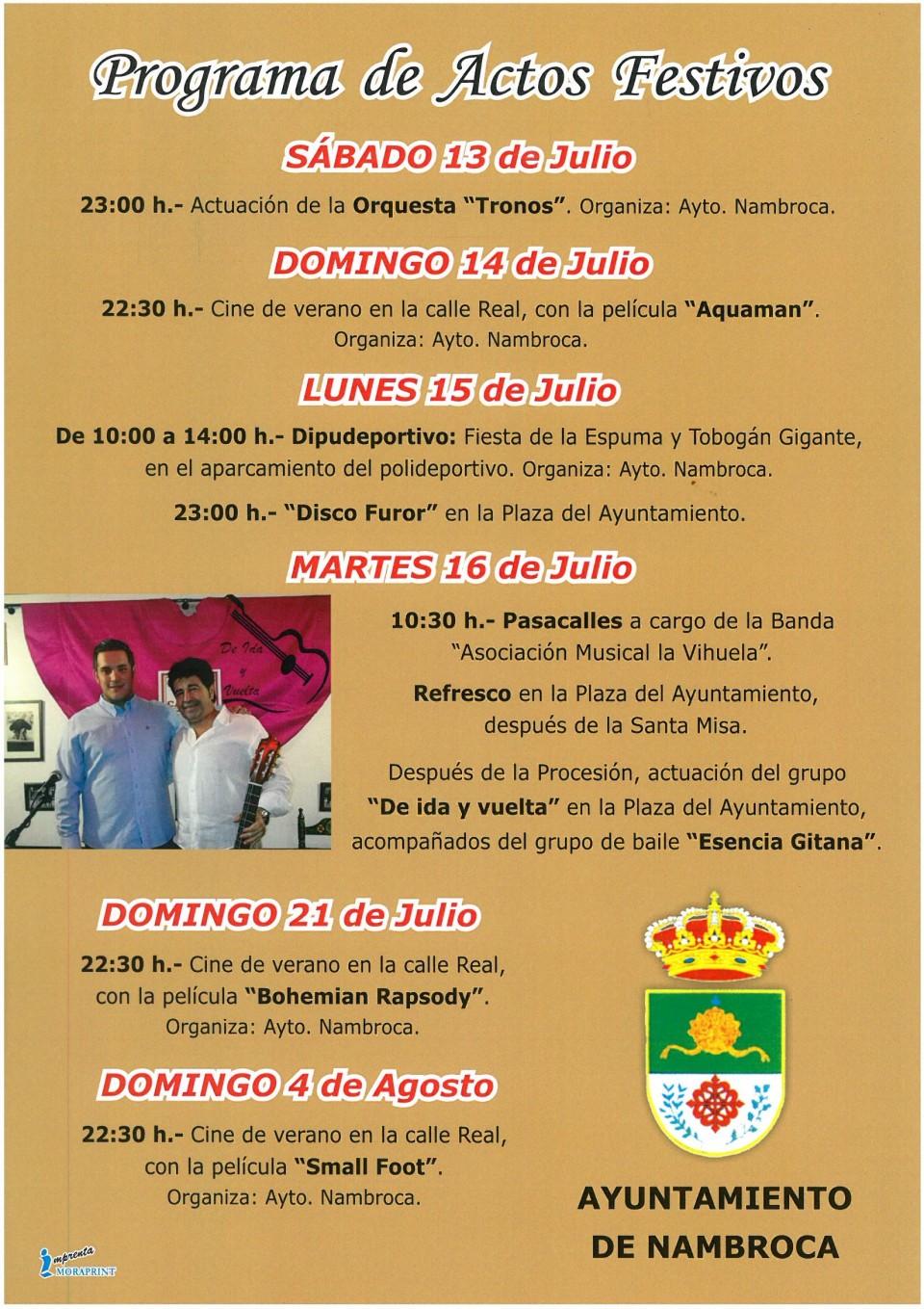 Fiestas en honor a la Virgen del Carmen 2019